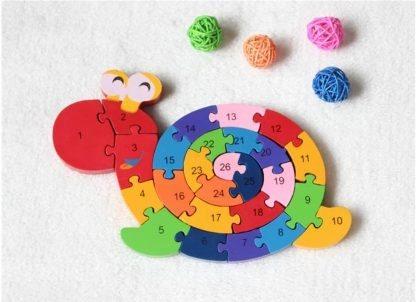 Puzzle en forme de tortue à chiffre en bois