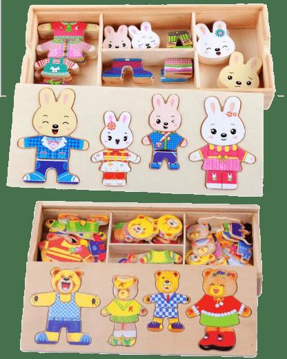 Puzzle oursons et lapins en bois