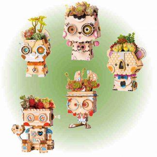 Maquette 3D en bois de pots de fleurs de différentes formes