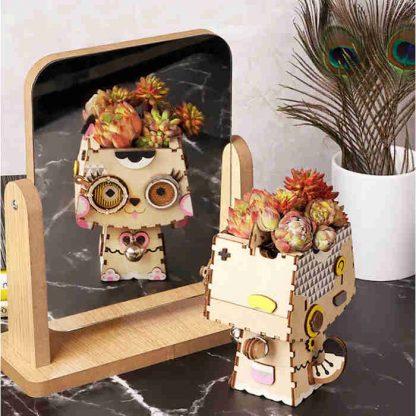 Puzzle / Maquette 3D en bois pot de fleurs Chant- AllinWood