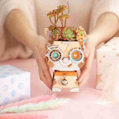 Puzzle / Maquette 3D en bois pot de fleurs Chien - AllinWood