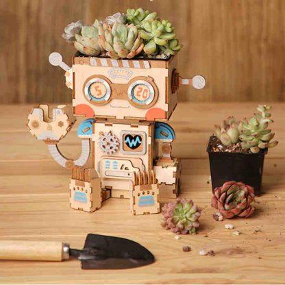 Maquette 3D en bois pot de fleurs Robot- AllinWood