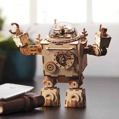 Maquette 3D en bois boite à musique robot 3