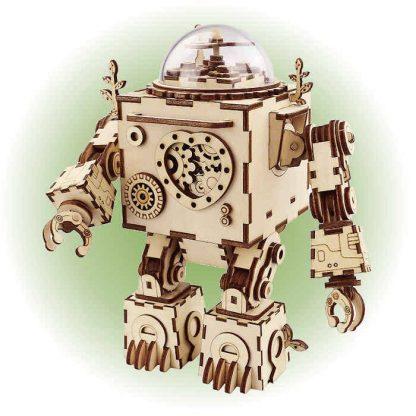 Maquette 3D en bois boite à musique robot