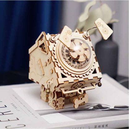Maquette 3D en bois boite musique robot 4