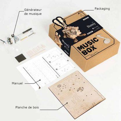 maquette 3D en bois boite à musique Lapin 5