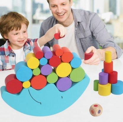 Puzzle jeu d'équilibre lune en bois 2
